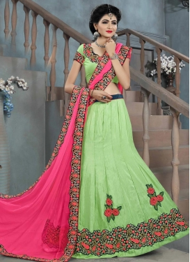 Ideal Bhagalpuri Silk Mint Green and Rose Pink Embroidered Work A - Line Lehenga