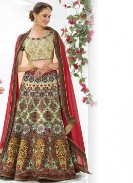 Ideal Digital Print Work Silk Trendy Lehenga