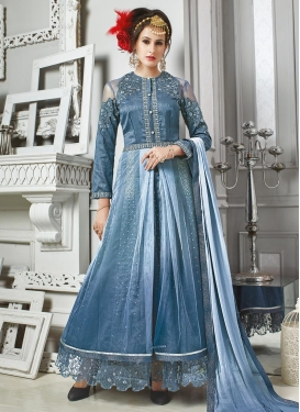 Ideal Embroidered Work Banarasi Silk Trendy Designer Salwar Kameez For Ceremonial