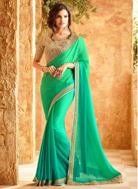 Ideal Embroidered Work Chiffon Satin Trendy Classic Saree For Ceremonial