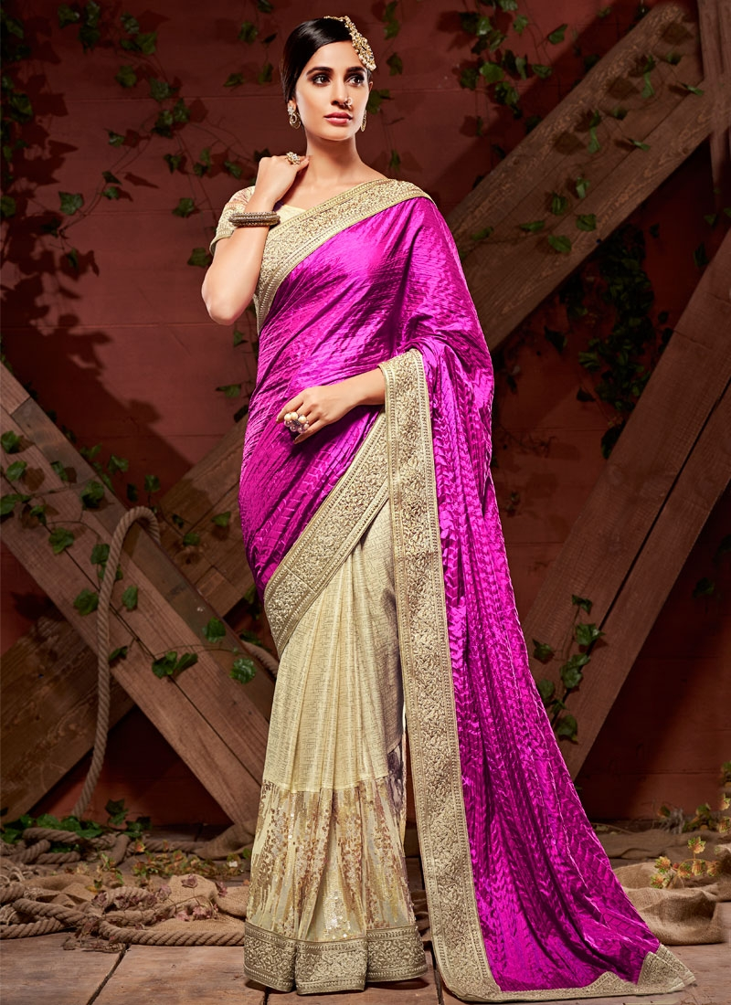 Ideal Lace And Sequins Work Half N Half Wedding Saree