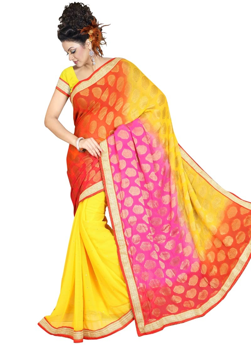 Ideal Lace Work Viscose Yellow Color Half N Half Party Wear Saree