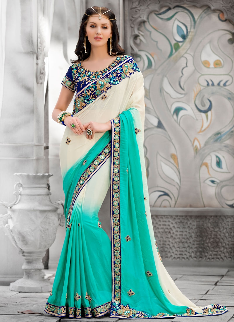 Ideal Pure Georgette Mirror Work Designer Saree