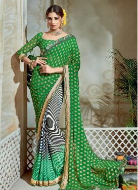 Immaculate Black and Green Lace Work Brasso Georgette Half N Half Saree