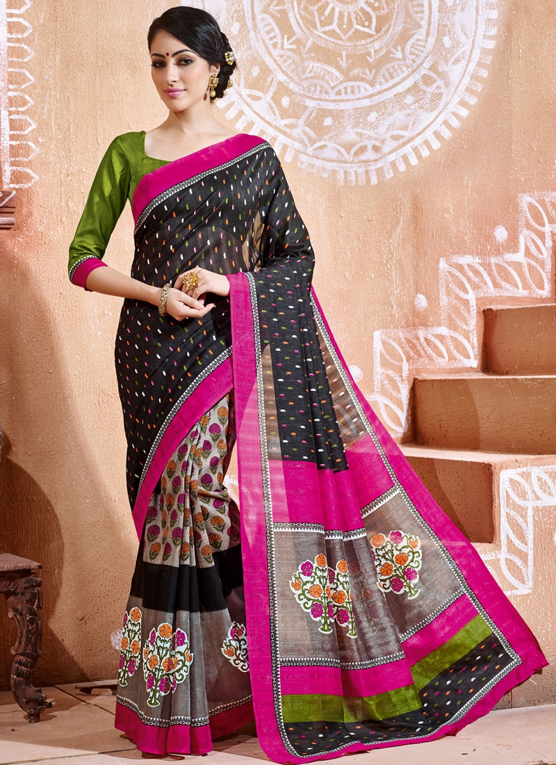 Immaculate Black Color Printed Casual Saree