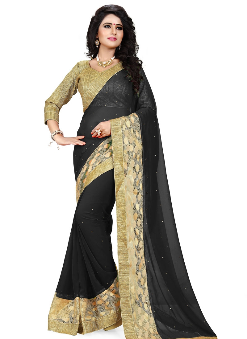 Immaculate Black Color Stone Work Party Wear Saree