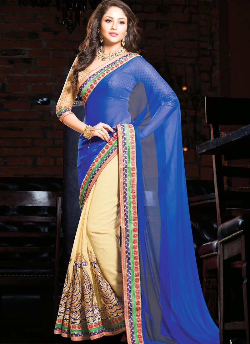 Immaculate Blue And Cream Color Half N Half Party Wear Saree