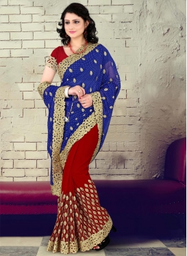Immaculate Blue Embroidered Work Faux Georgette Designer Half N Half Saree