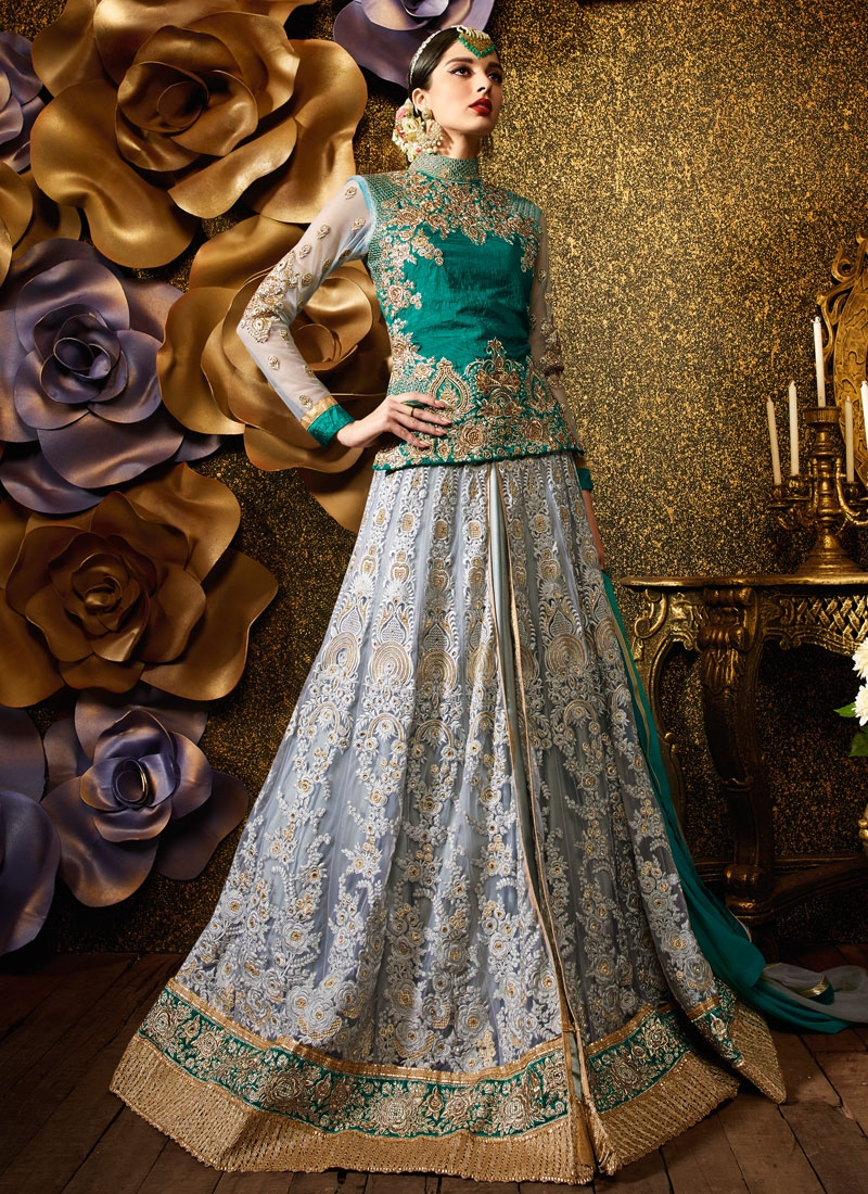 Immaculate Booti Work Banarasi Silk Wedding Lehenga Choli