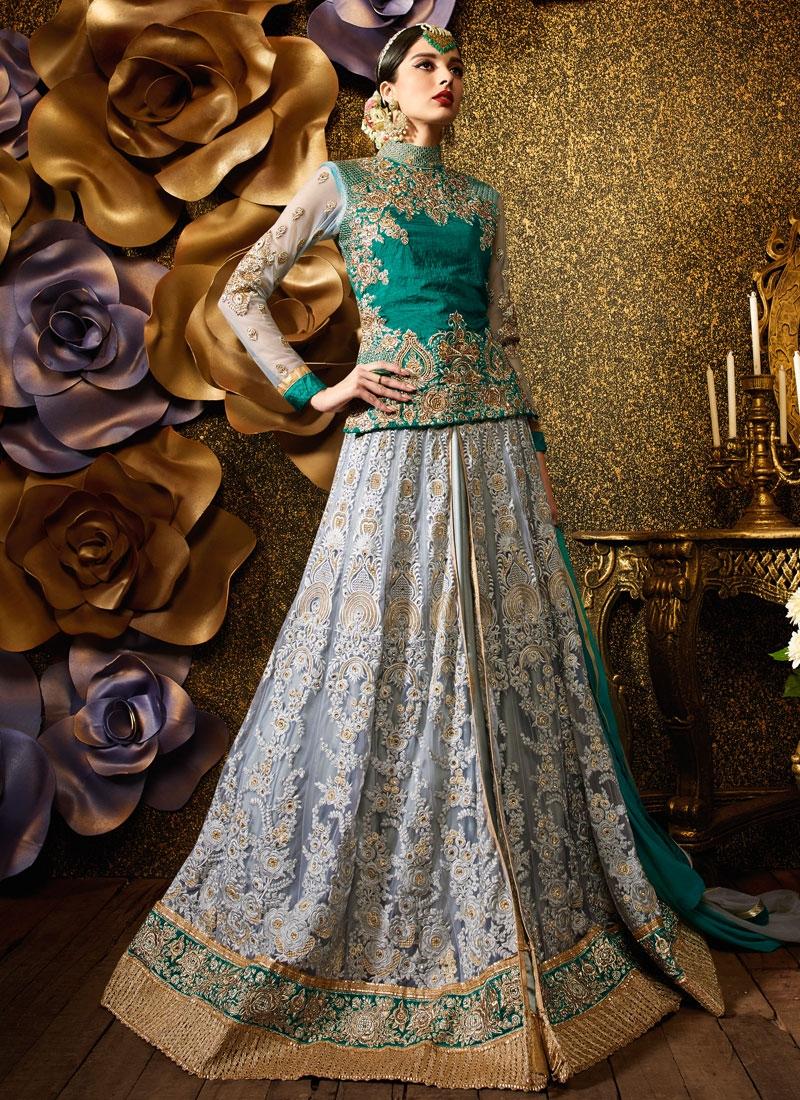 Immaculate Booti Work Banarasi Silk Wedding Lehenga Choli
