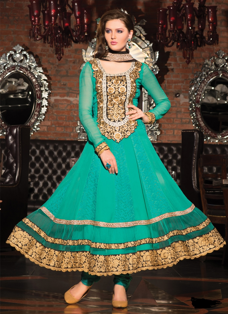 Immaculate Chiffon And Georgette Anarkali Suit