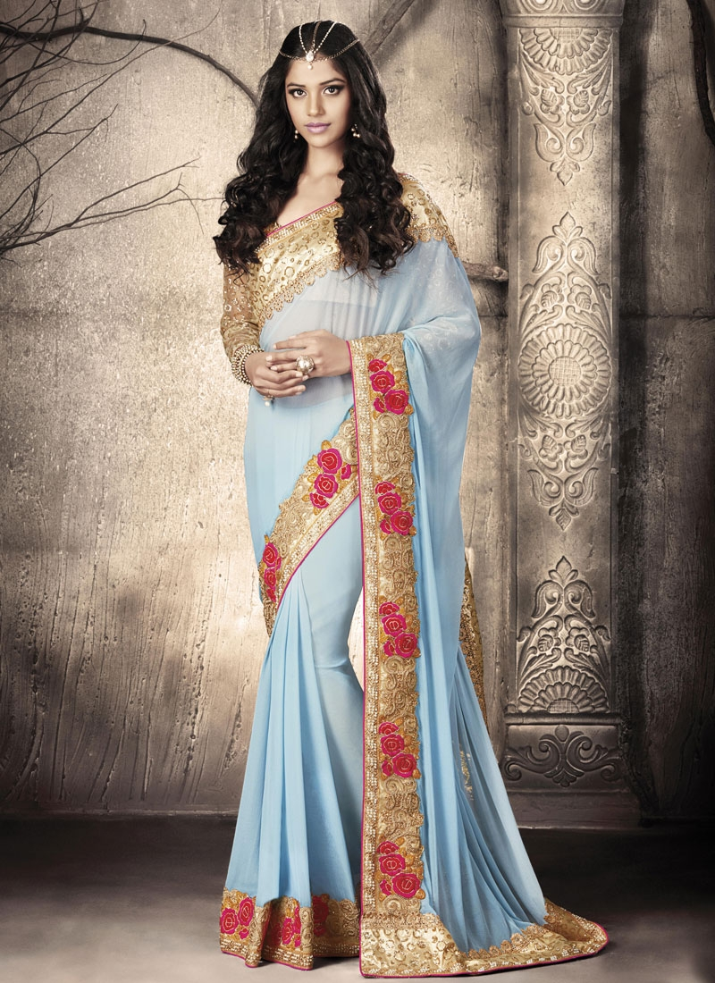 Immaculate Faux Chiffon Stone Work Party Wear Saree