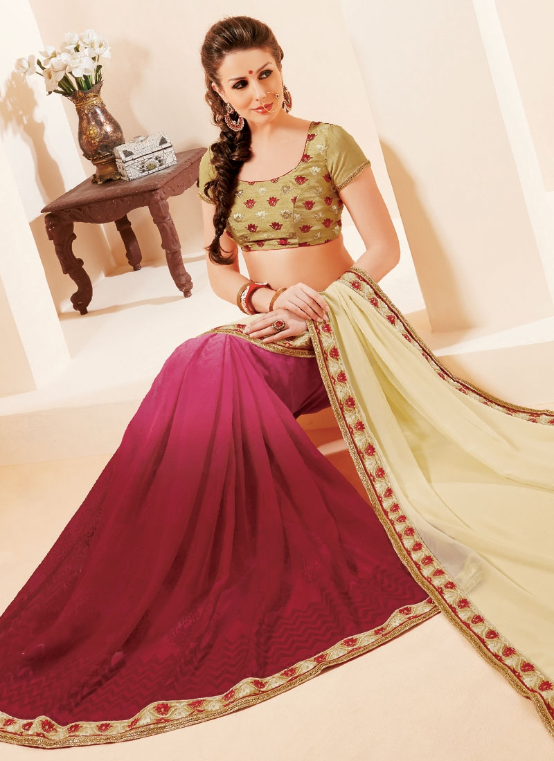 Immaculate Faux Georgette Maroon Color Half N Half Party Wear Saree