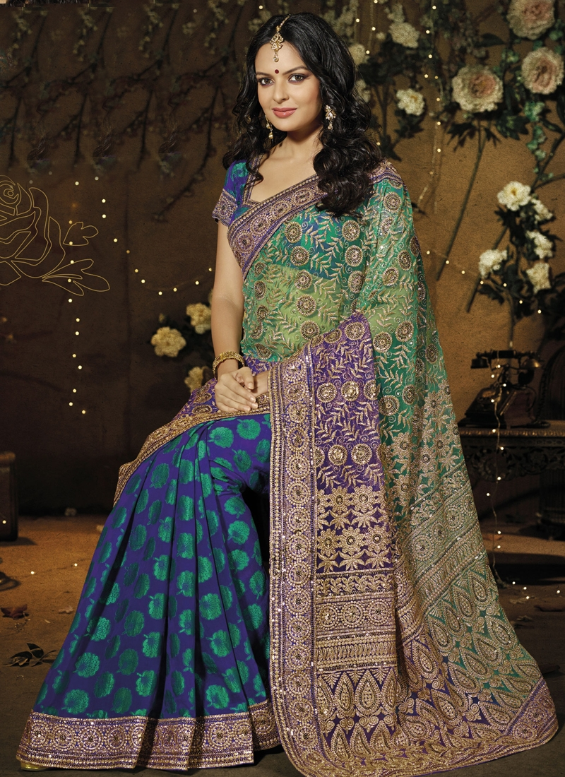 Immaculate Floral Enhanced Half N Half Saree