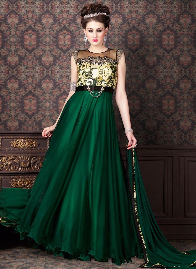 Immaculate Green Color Net Long Length Designer Salwar Kameez
