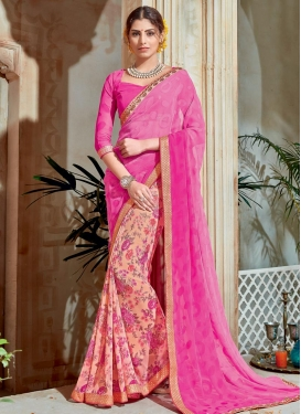 Immaculate  Hot Pink and Peach Digital Print Work Half N Half Saree