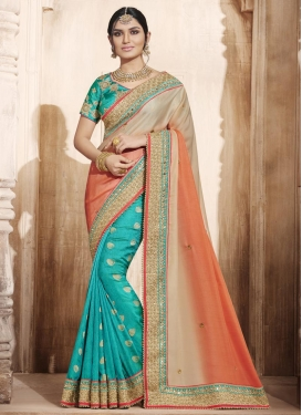 Immaculate Jacquard Silk Aqua Blue and Beige Designer Half N Half Saree For Festival