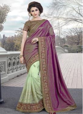 Immaculate Net Half N Half Designer Saree