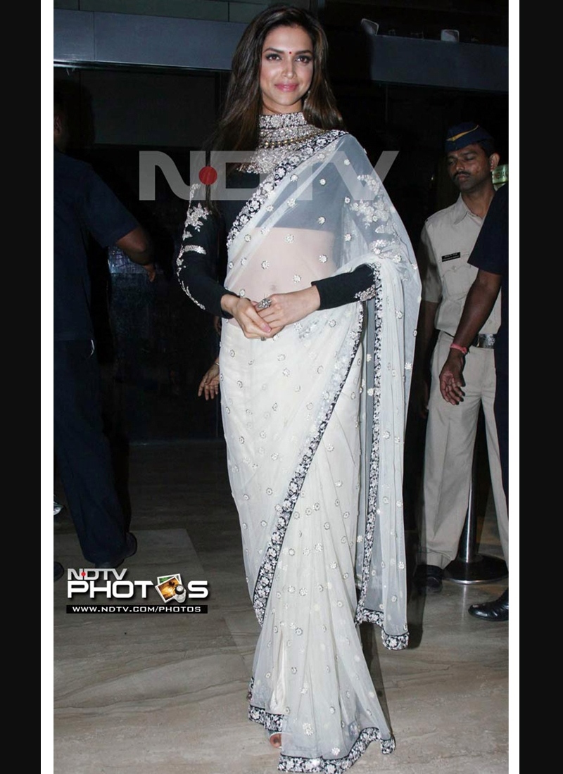 Immaculate Off White And Black Bollywood Saree