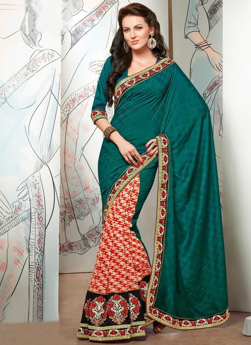 Immaculate Patch Border Work Half N Half Designer Saree