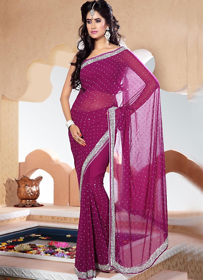 Immaculate Purple Color Chiffon Saree