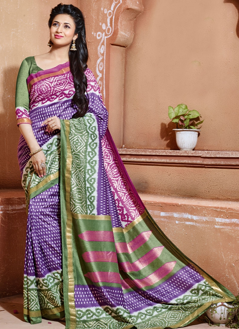 Immaculate Purple Color Divyanka Tripathi Casual Saree