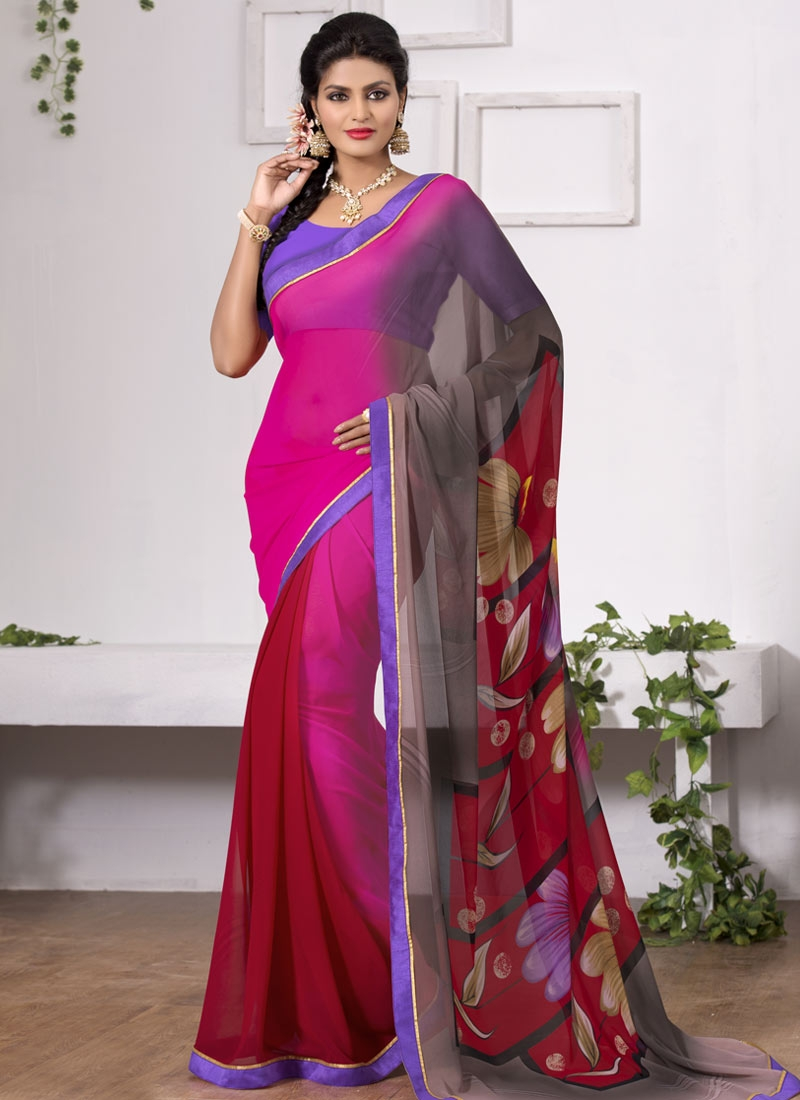 Immaculate Red And Rose Pink Color Casual Saree