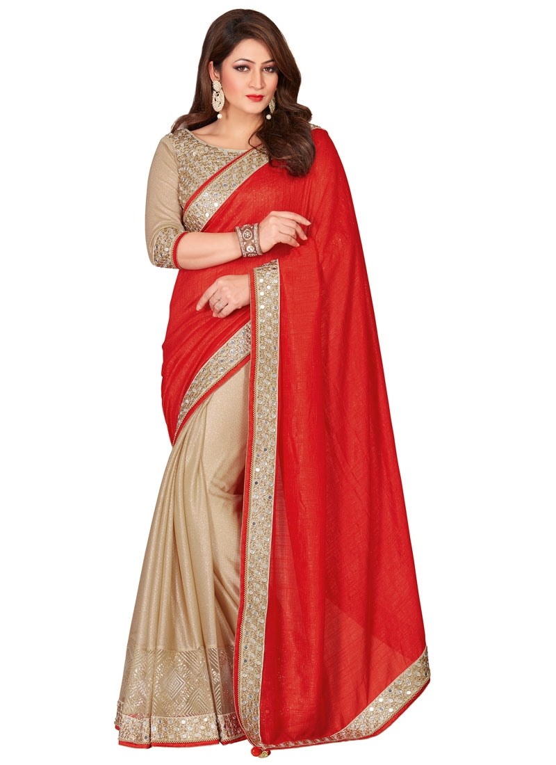 Immaculate Red Color Mirror Work Half N Half Wedding Saree