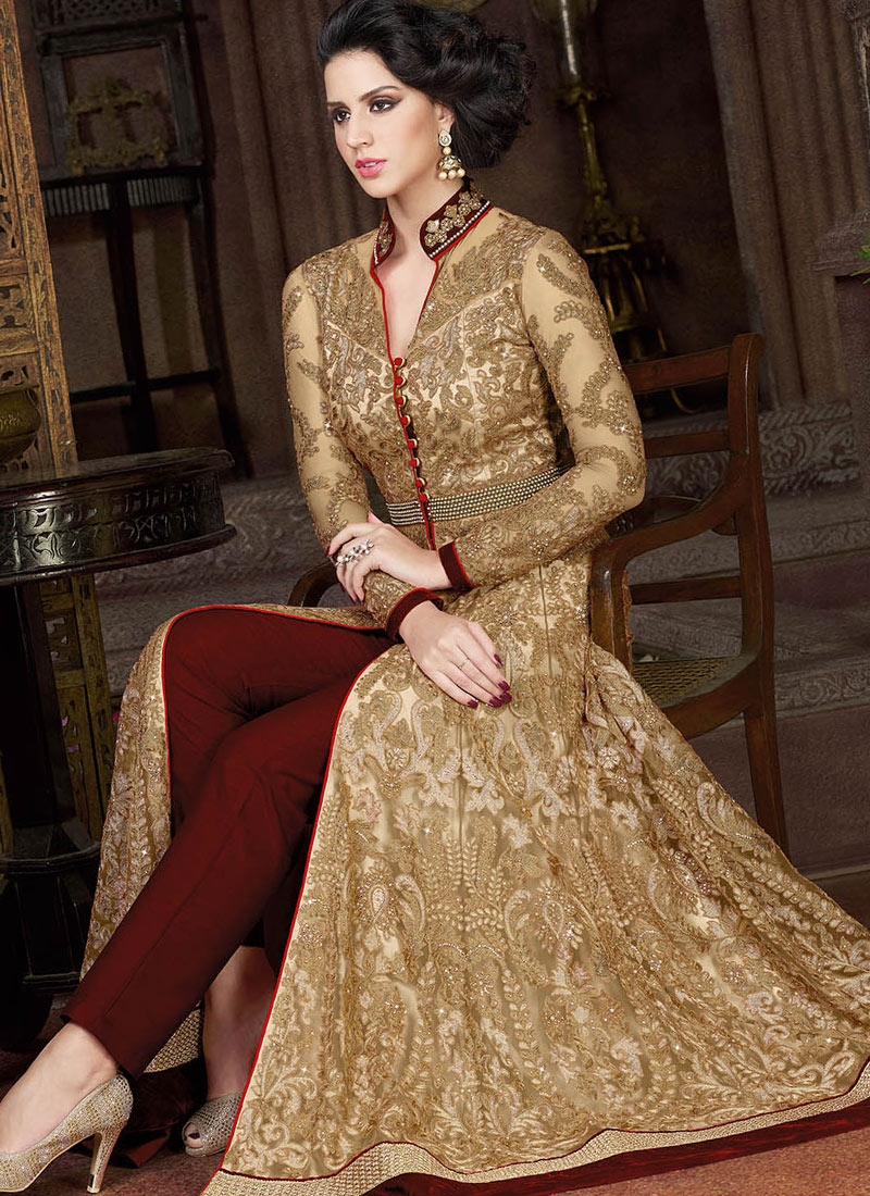 Immaculate Resham And Lace Work Pant Style Wedding Salwar Kameez