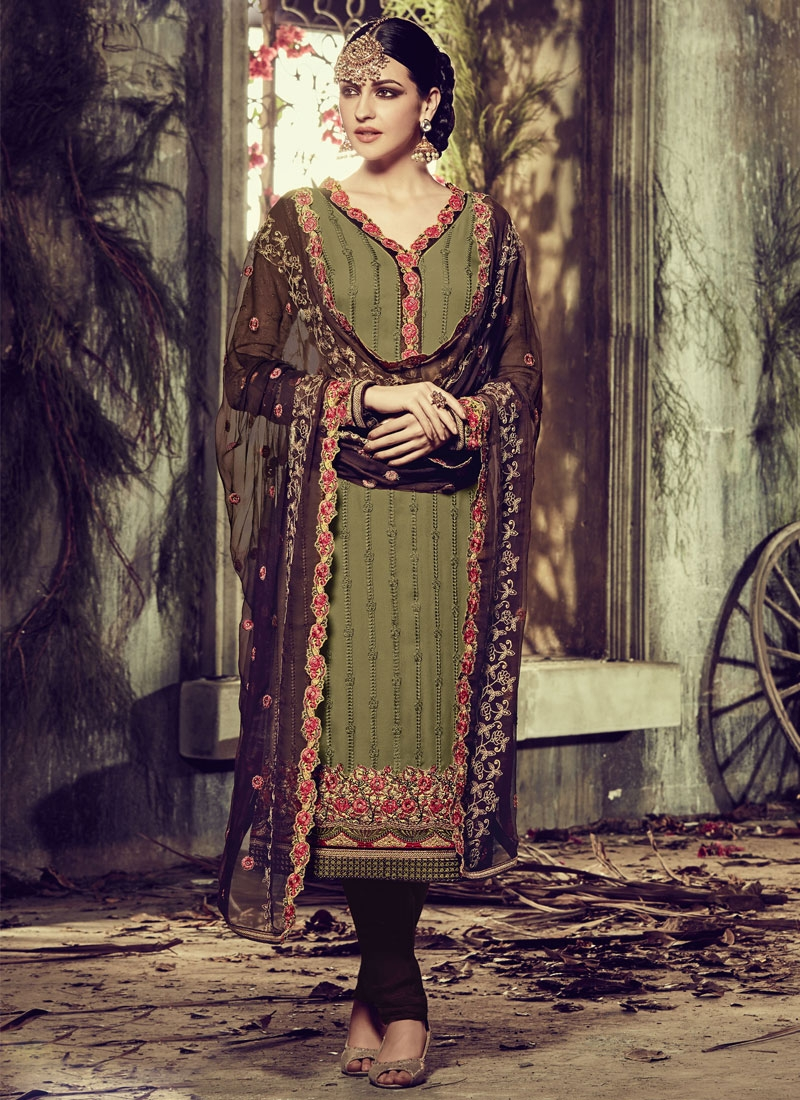 Immaculate Resham Work Olive Color Party Wear Salwar Suit