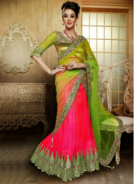 Immaculate Rose Pink Color Net Bridal Lehenga Choli