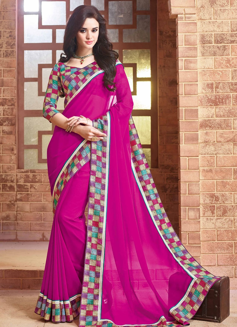 Immaculate Rose Pink Color Party Wear Saree