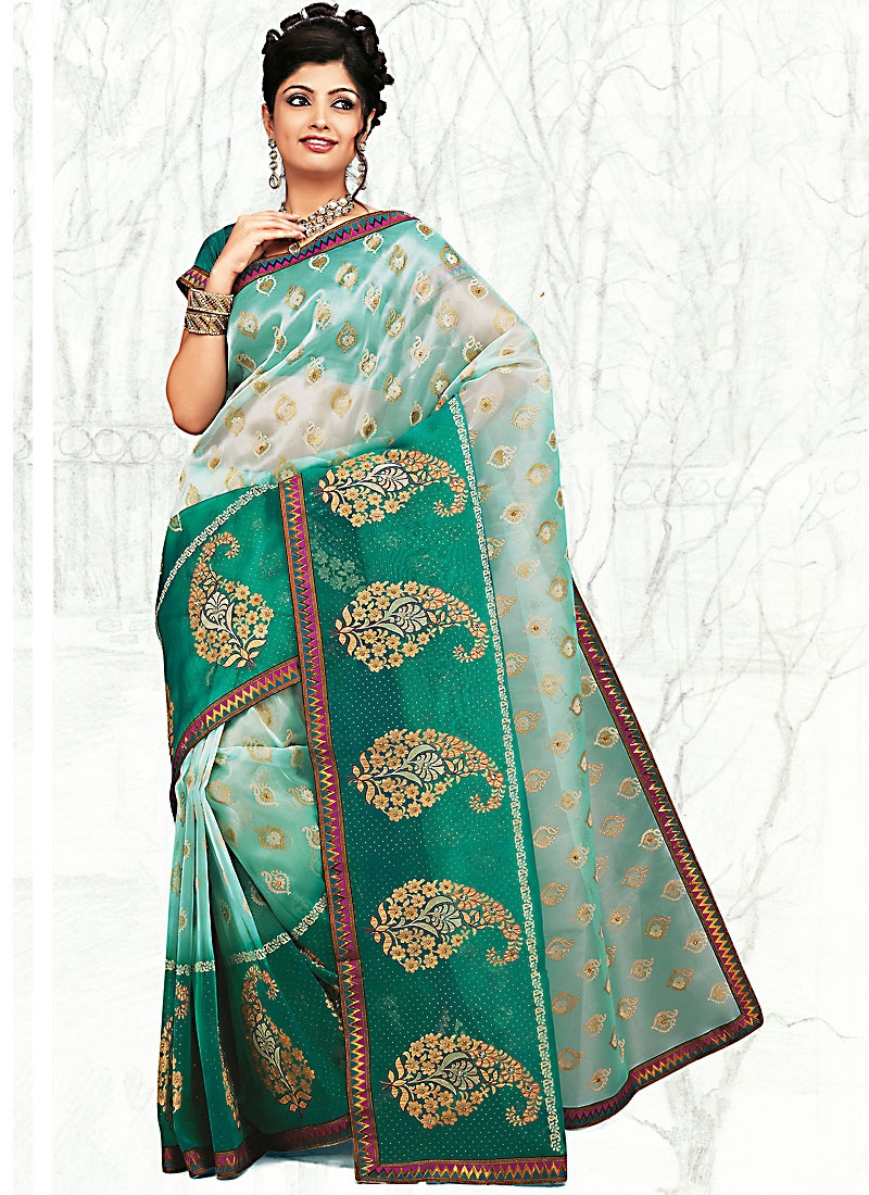 Immaculate Sea Green Shaded Saree