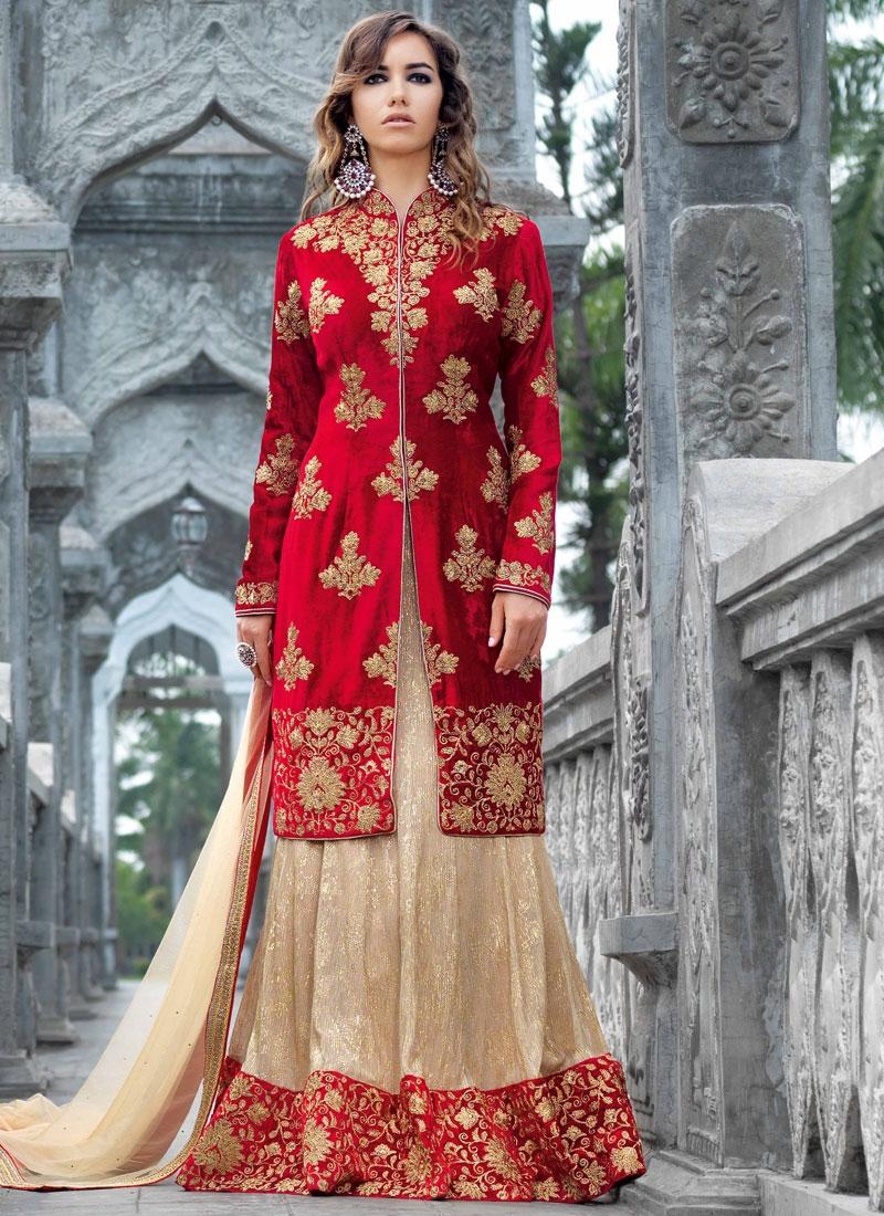 Immaculate Velvet Kameez Style Designer Lehenga Choli