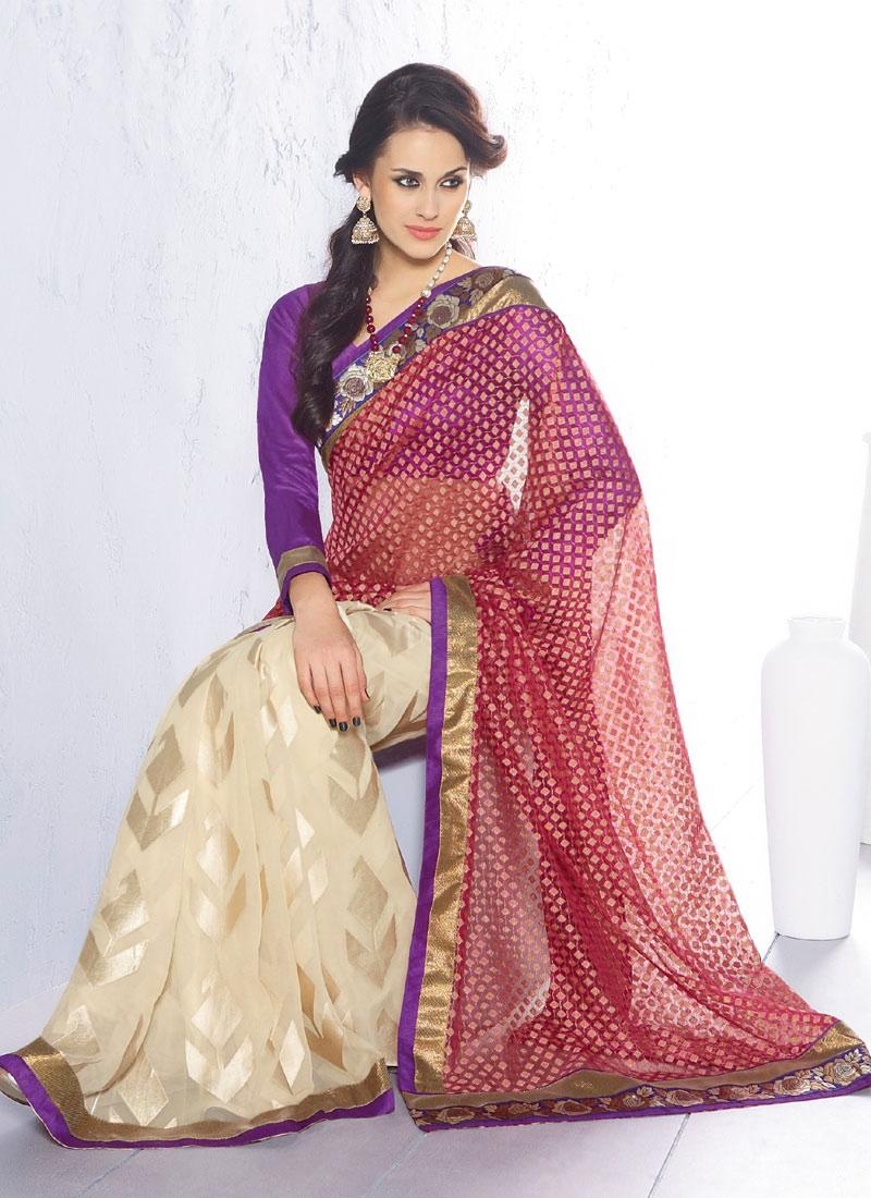 Immaculate Zari Enhanced Half N Half Saree