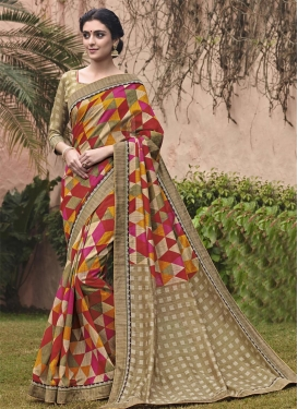 Impeccable  Abstract Print Work Classic Saree