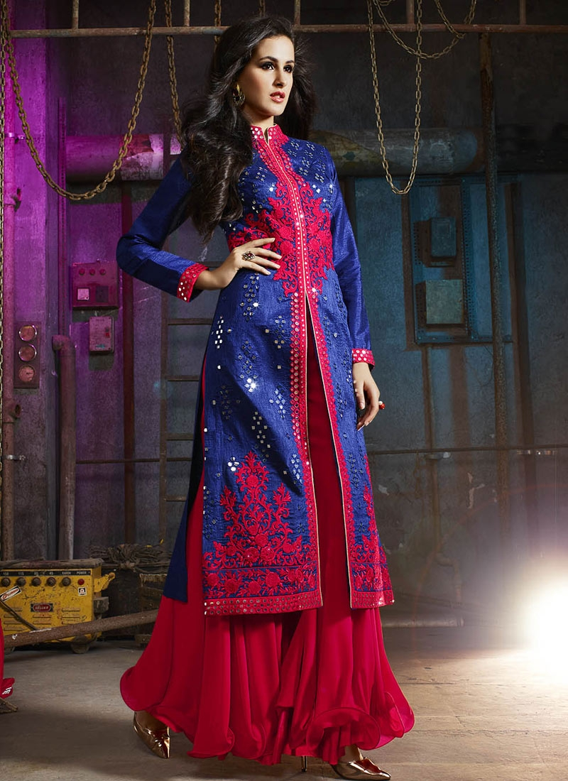 Impeccable Art Silk Palazzo Style Designer Salwar Suit