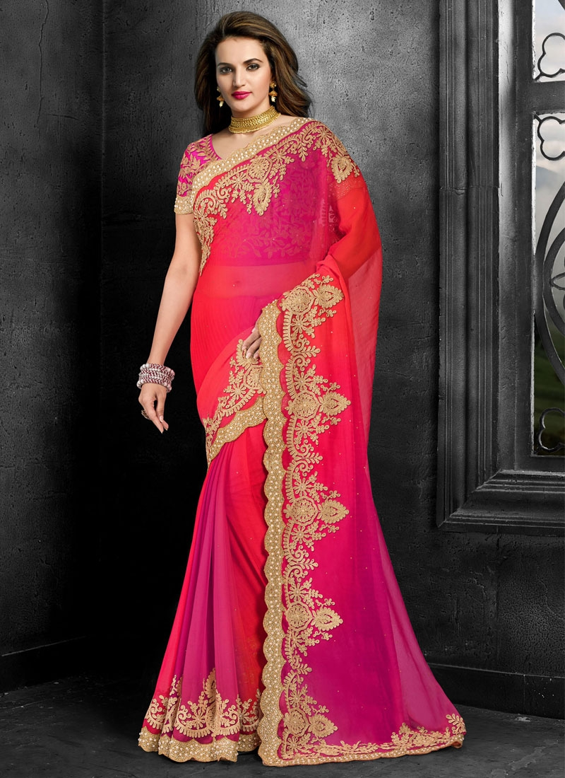 Impeccable Beads And Stone Work Wedding Saree