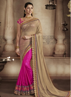 Impeccable Beads Work Brown and Rose Pink Half N Half Designer Saree