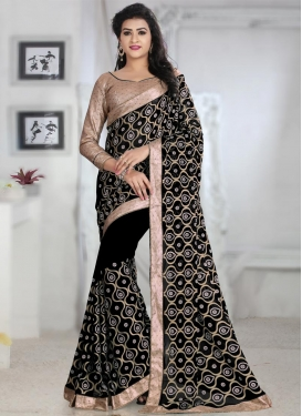 Impeccable Beads Work Faux Georgette Classic Saree