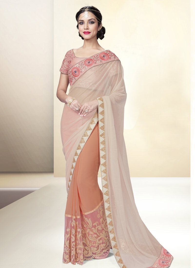 Impeccable Beads Work Lycra Half N Half Designer Saree
