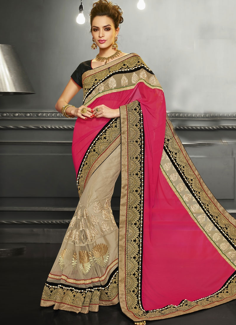 Impeccable Beige Color Net Half N Half Bridal Saree