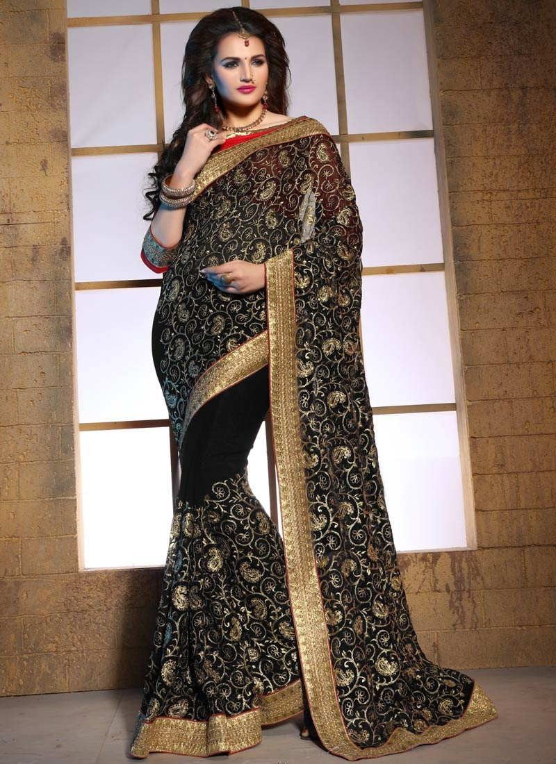 Impeccable Black Color Faux Georgette Designer Saree