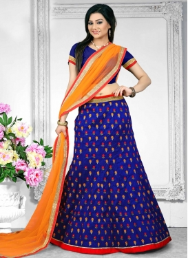 Impeccable Blue and Orange  Trendy Lehenga Choli