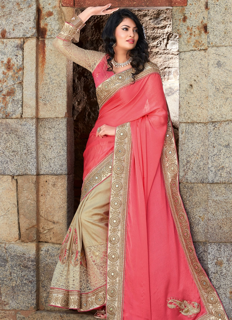 Impeccable Booti And Mirror Work Half N Half Wedding Saree