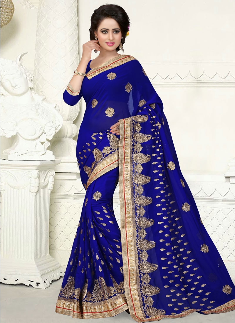 Impeccable Booti Work Faux Georgette Party Wear Saree