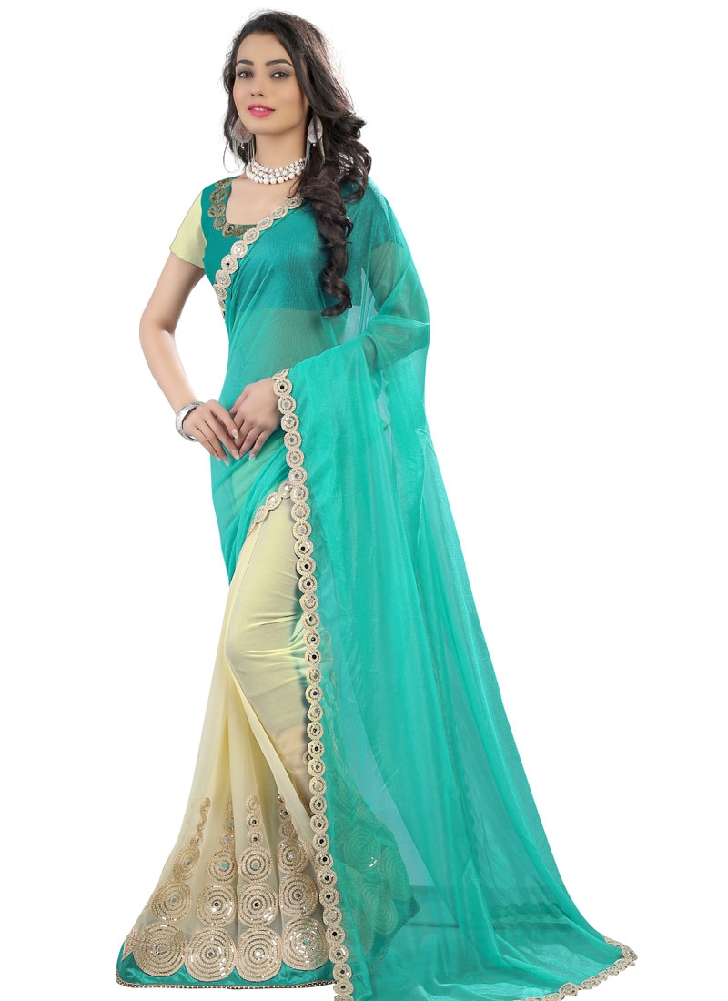 Impeccable Booti Work Half N Half Party Wear Saree