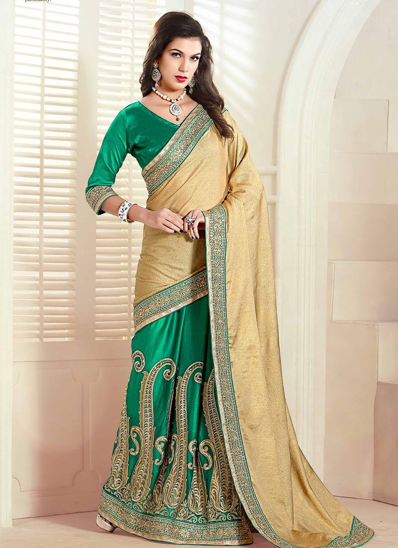 Impeccable Booti Work Half N Half Wedding Saree