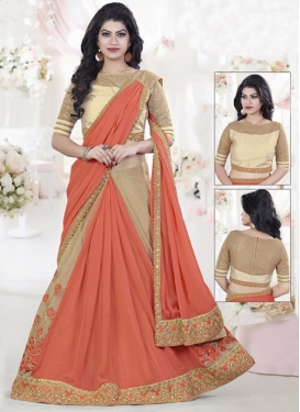 Impeccable  Chiffon Satin Designer Lehenga Style Saree For Ceremonial