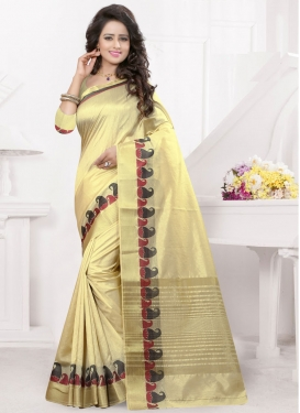 Impeccable Cream Color Resham Work Party Wear Saree